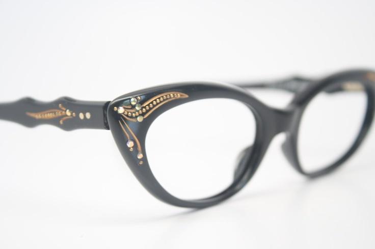 Black cat eye glasses vintage rhinestone cateye frames NOS. $125.00, via Etsy.