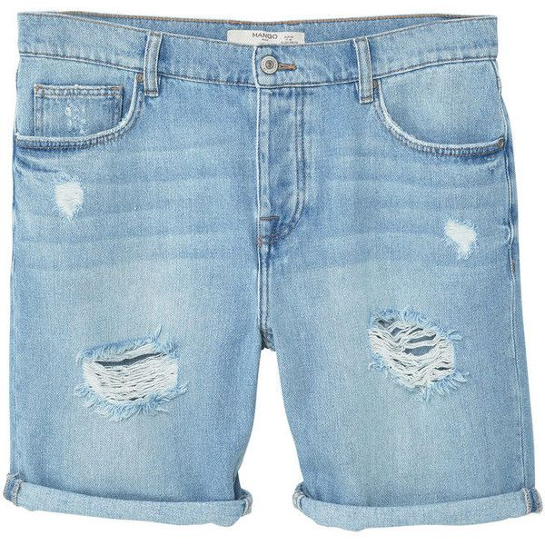 MANGO MAN Ripped light denim bermuda shorts ($50) ❤ liked on Polyvore featuring men's fashion, men's clothing, men's shorts, mens distressed shorts, mens bermuda shorts, mens ripped denim shorts, mens distressed denim shorts and mens denim shorts