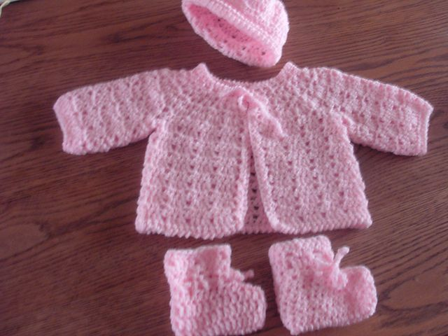 Crochet Baby Hat And Sweater Pattern : Twin Stitch Baby Sweater, Hat, and Booties pattern by ...
