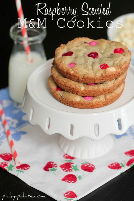 Raspberry Scented M&M Cookies by Picky Palate