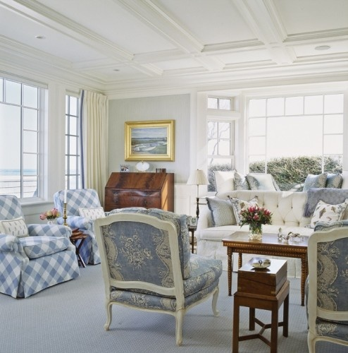 blue, cream & lovely touches of wood!  love the banding on the drapes!  Chatham traditional living room
