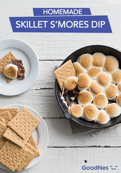 No bonfire? No problem! With this homemade skillet s'mores dip, your family can enjoy all the flavor of their favorite campfire treat using just your kitchen stove. Perfect for family gatherings or rainy nights stuck inside, this shareable dessert recipe is such a fun way to spend time together!