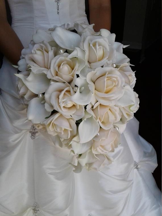 Cascading Bridal Bouquet Real Touch Rose And Calla Lily Etsy