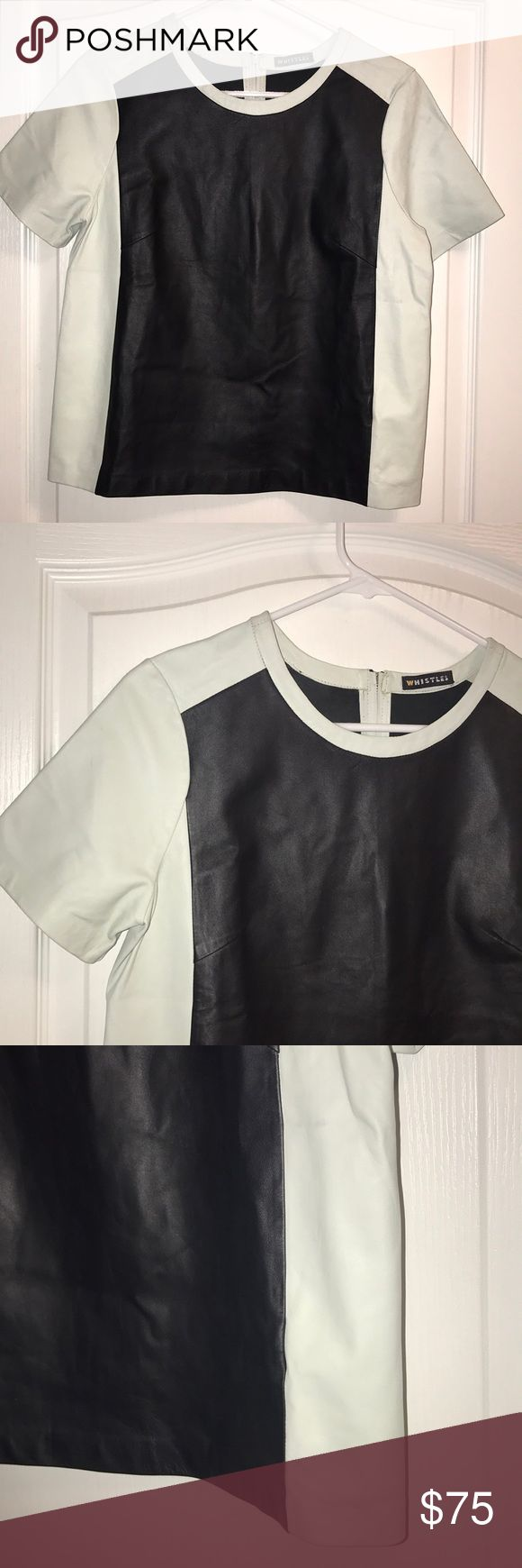 New Whistles Leather Color Block Short Sleeve Top New $495 Black Shopbop Whistles Leather Color Block Short Sleeve Top US 6 UK 10   SOLD-OUT EVERYWHERE!!   High quality extremely soft leather - goes with everything, feels luxurious on and can be dressed up or down.  US Size-6  UK 10 Whistles Tops