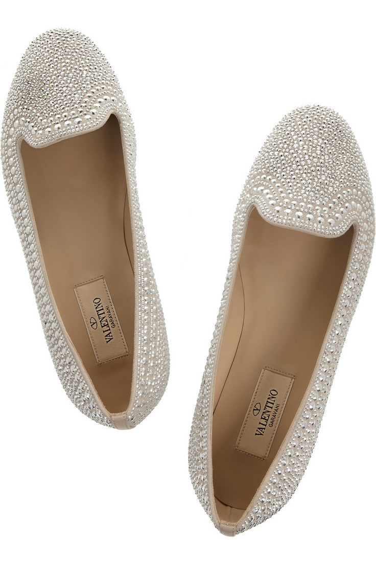 Valentino | Crystal-studded suede loafers