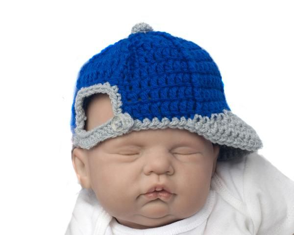 fae018a97 Crochet Baby Boy Backwards Baseball Cap Grey & Royal Blue Hat ...