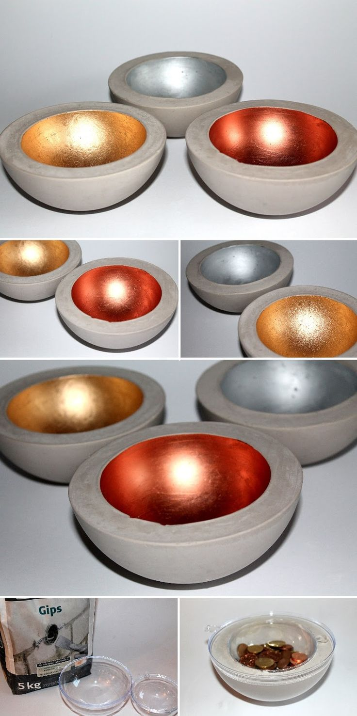 Cheap plastic bowls, concrete/plaster mixture. Weigh down the smaller bowl with coins/small weights. Paint the inside with a shiny paint. Copper was the reddish color in the picture.
