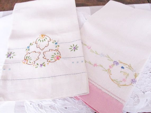 Vintage linen hand towels set of 2 ivory linen towels guest