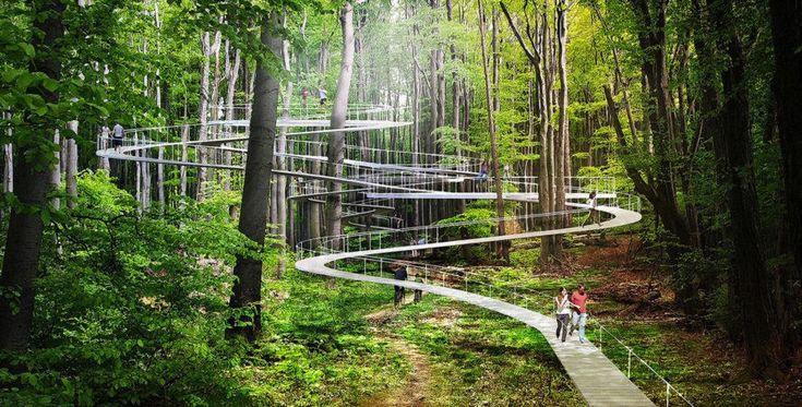 """İstanbul'dan büyüleyici bir park projesi geliyor - Ontrava:Fotoğrafları ilk gördüğünüzde aklınıza İstanbul gelmeyebilir ama evet bu park İstanbul'daki """"Park Orman"""". Studio Dror mimarlarının tasarladığı parkta farklı tarzda yürüyüş yolları, salıncaklar, trambolinler ve hamaklar bulunuyor."""