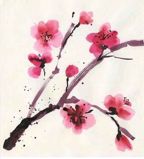 Watercolor Cherry Blossom Tattoo Idea                              …