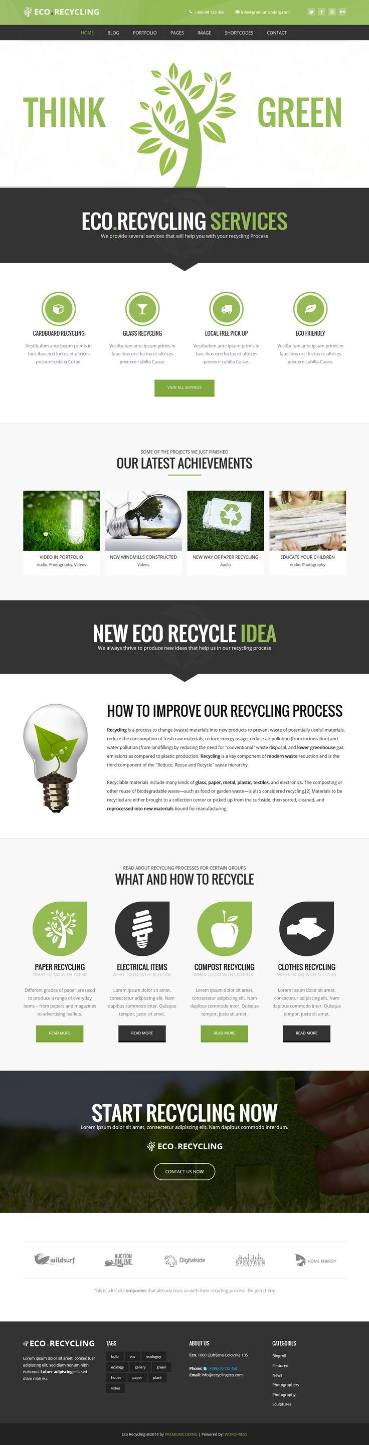 EcoRecycling - a Multipurpose Wordpress Theme #enviromental #web #design #eco