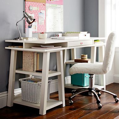 Customize-It Storage Trestle Desk #potterybarnteen  (painting it a different color to coordinate)