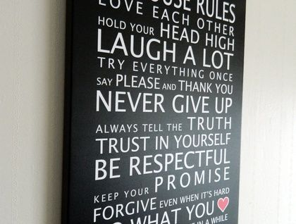 House Rules with Hearts A3 Canvas
