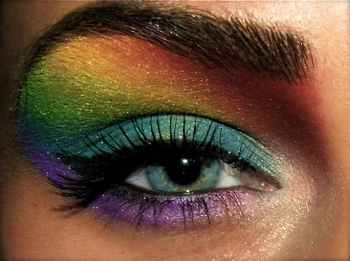 Rainbow make up idea- Caution- her eyebrow and eye bed is perfect for this.. If u don't look like her, it's not gonna look good on you! Just sayin