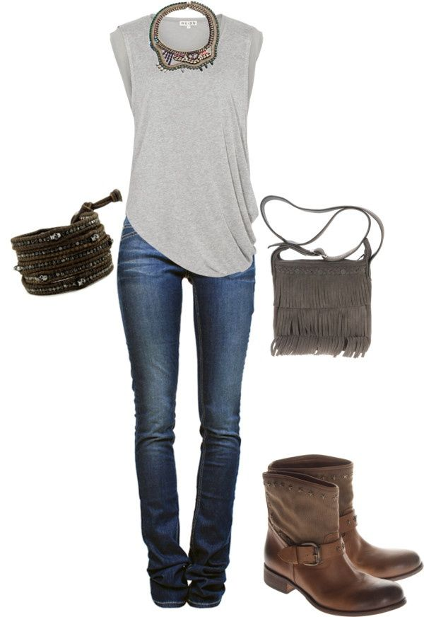 I love the top and jeans look with the chunky boots. I might get risky and wear the bracelet, but would never buy the purse. However, I like the size of the purse and that I can wear it cross body. If I could only find one that would go with most other outfits. I've lived too long to be swapping out purses all the time.