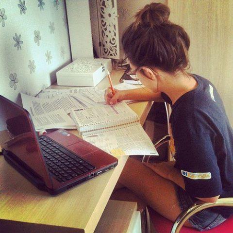 Girl doing homework tumblr