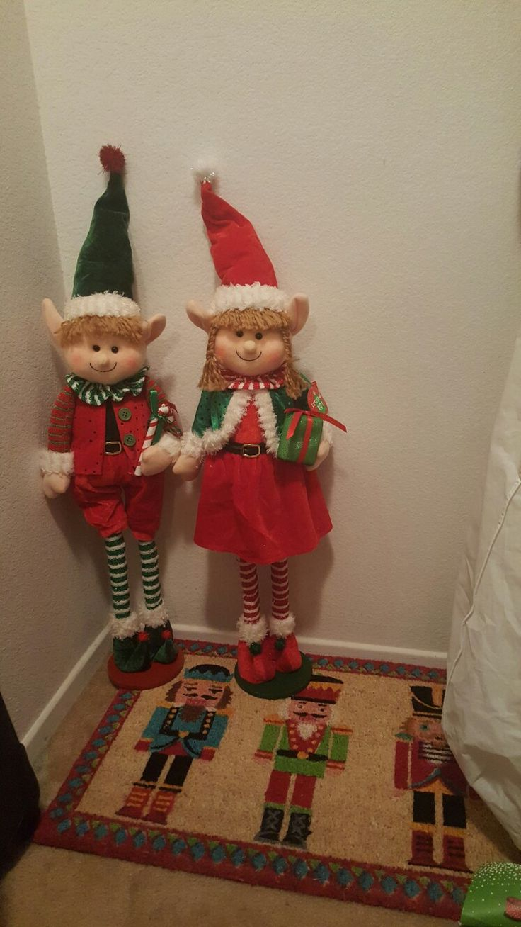 these two adorable elves were sent to me by my brother-in-law from Florida they are collapsible they can be made to be about 10 or stretch to be but 30 inches