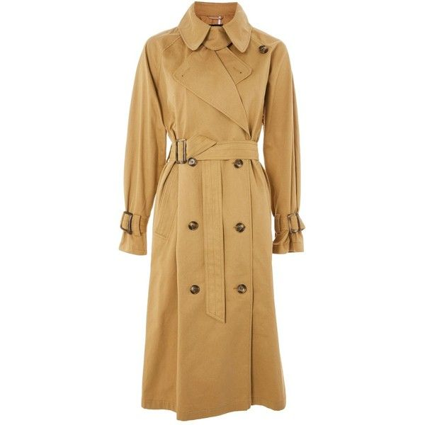 Topshop Batwing Trench Coat (6.300 RUB) ❤ liked on Polyvore featuring outerwear, coats, camel, trench coats, camel trench coat, topshop coats, cotton trench coat and buckle coats