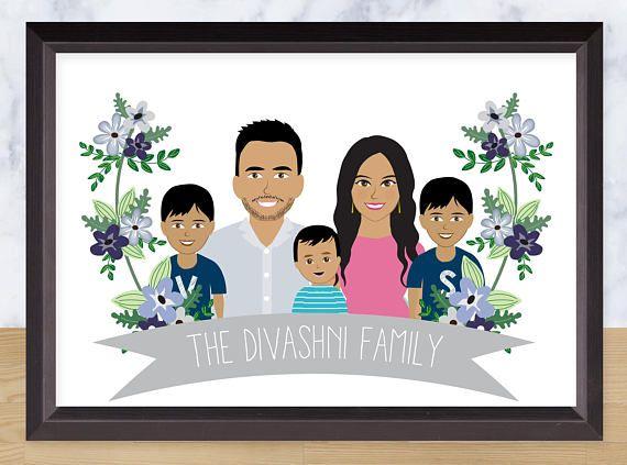 Custom Illustration Anniversary gift Family portrait