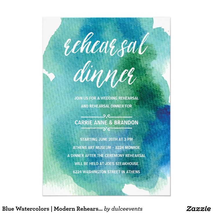 Blue Watercolors | Modern Rehearsal Dinner Card
