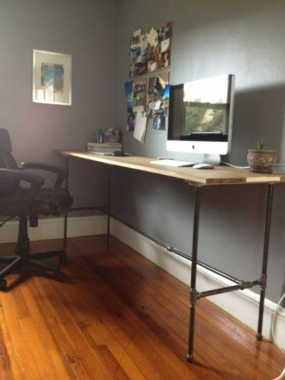 Industrial Wood and Pipe Office Desk