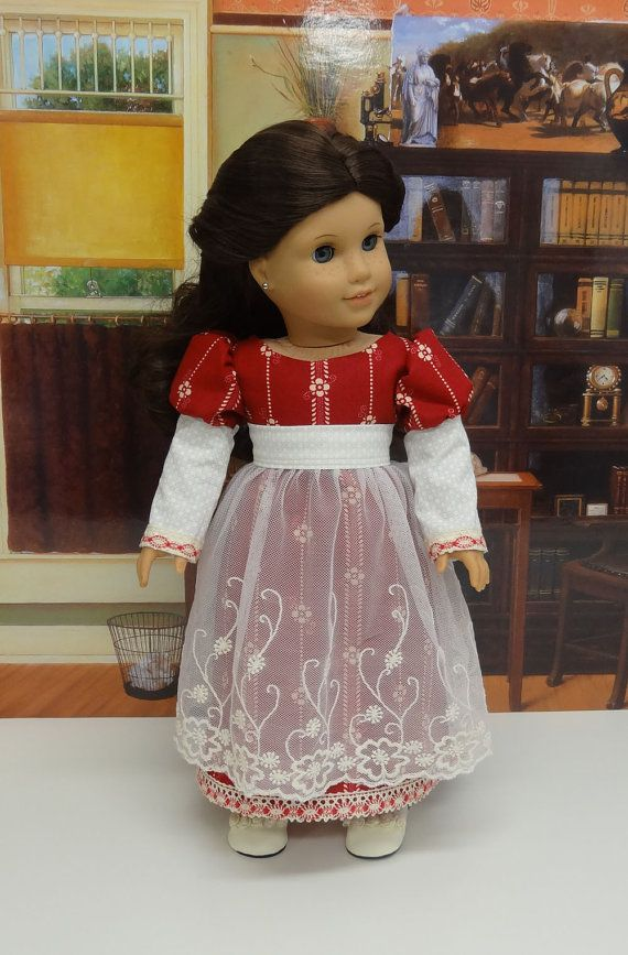 """Icomb Place,"" Regency Era Ensemble with lace half Apron, Pantaloons & Shoes for AG by cupcakecutiepie via Etsy  $87.00"