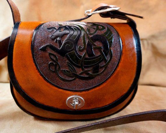 Hand tooled leather shoulder bag with Blue and Green Celtic Seahorse knotwork - Purse/Handbag/Shoulder bag