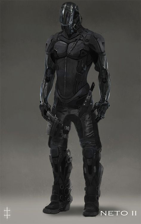 Sleek black futuristic soldier/assassin armour