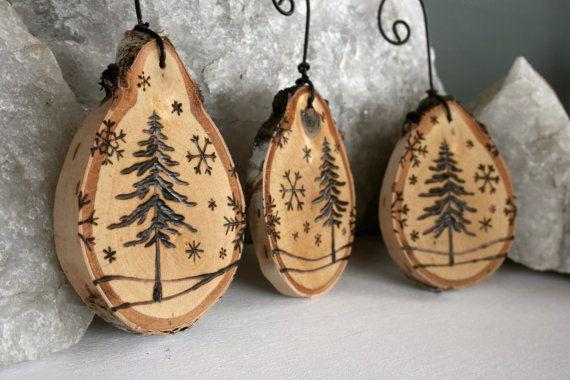 Winter Wonderland Set von 3 Birke Ornaments holzbeheizt