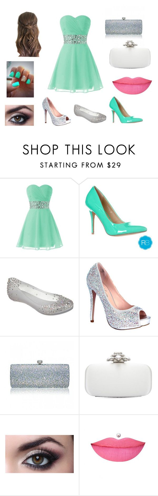 """""""Turquoise and glitter banquet"""" by cocofruit22 ❤ liked on Polyvore featuring Melissa, Lauren Lorraine, Oscar de la Renta and Anastasia Beverly Hills"""