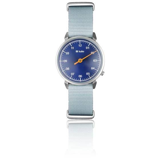 Montre Electric Ocean Argent par Kulte, affichage mono-aiguille avec mouvement quartz japonais Hattori PC20. Boitier bleu en acier, cadran bleu, bracelet nato gris vintage