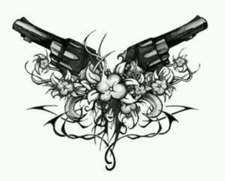 Pistols crossed | tattoo ideas | Pinterest