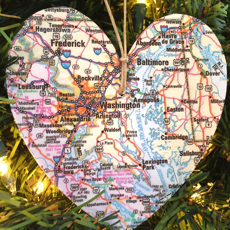Washington DC Map Ornament Patriotic Ornament Arlington