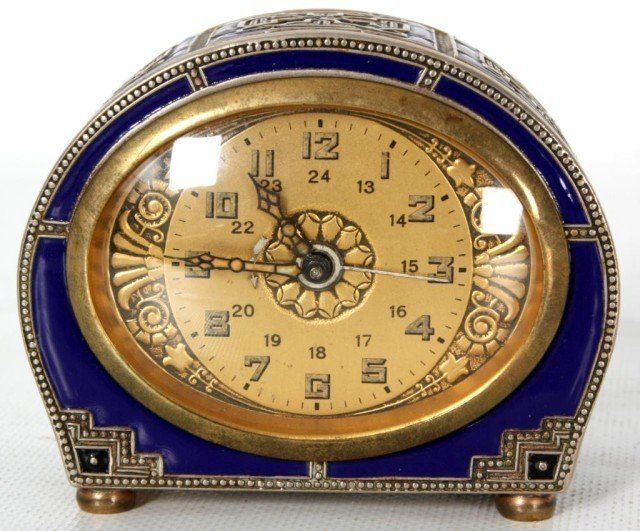 Deco enamel alarm clock