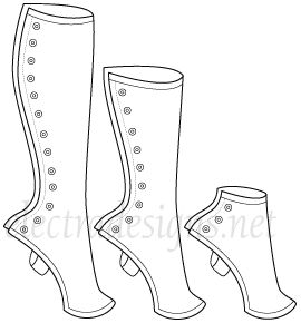 gaiters and their varying heights or lengths.