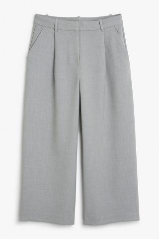 Monki Image 2 of Wide leg trousers in Grey