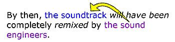This sentence (By then, the soundtrack will have been completely remixed by the sound engineers) is more wordy than an active voice sentence...