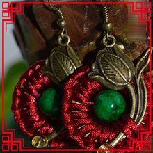 ruční opletené čínské šperky ženy etnických náušnice, módní tradiční vinobraní list náušnic (Čína (pevninská část))