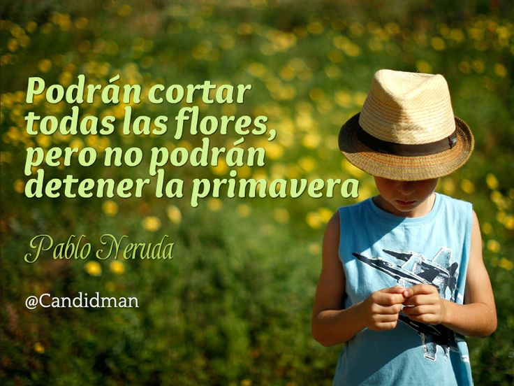 """""""Podrán cortar todas las #Flores, pero no podrán detener la #Primavera"""". #PabloNeruda #Citas #Frases @candidman"""