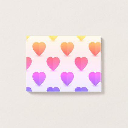 Ombre hearts post it note pad, cute romantic paper | Zazzle.com