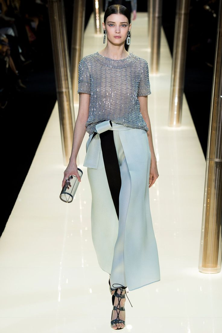 Armani Privé | Spring 2015 Couture | 34 Silver embellished short sleeve top and green belted wide trousers