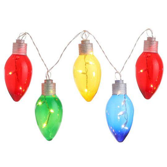 RAZ Large Vintage Light Bulb Lighted Garland | Christmas ...