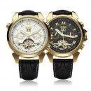 Jaragar ceas mecanic pentru barbati Skeleton Tourbillon Gold curea piele ( cutie cadou )