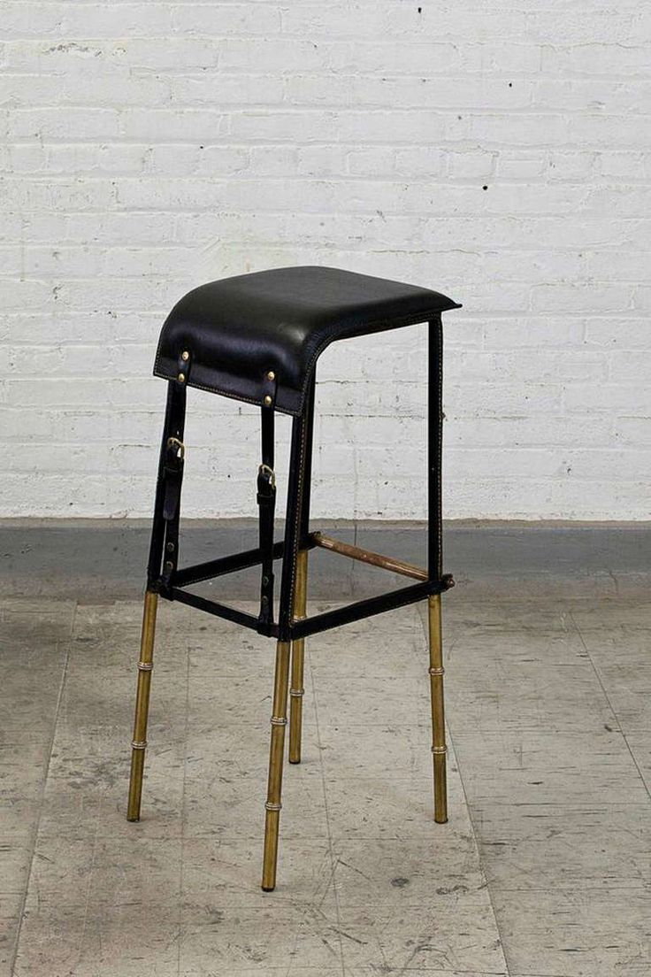 jacques adnet french black leather and metal stool circa