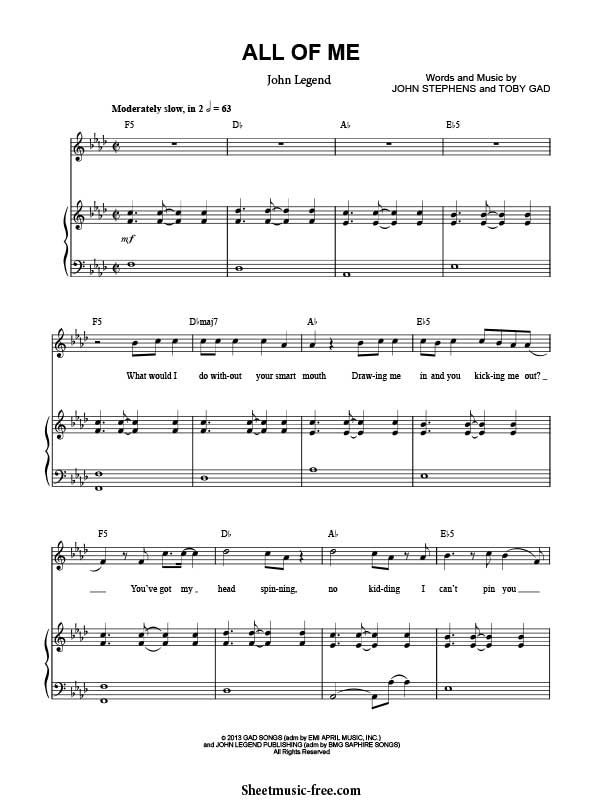 All Of Me Sheet Music John Legend With Images Sheet Music