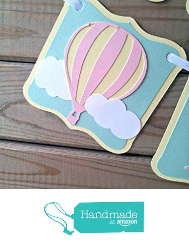 Pastel Hot Air Balloon Birthday Banner - up up & away party from Party Ridge http://www.amazon.com/dp/B017SHF7JQ/ref=hnd_sw_r_pi_dp_8f6Nwb096E52T #handmadeatamazon