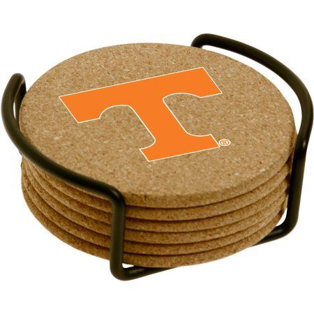 Set of Six Cork Coasters with Holder Included, University of Tennessee, Multicolor
