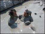 Bathing in the mud at Totumo Volcano near Cartagena, Colombia