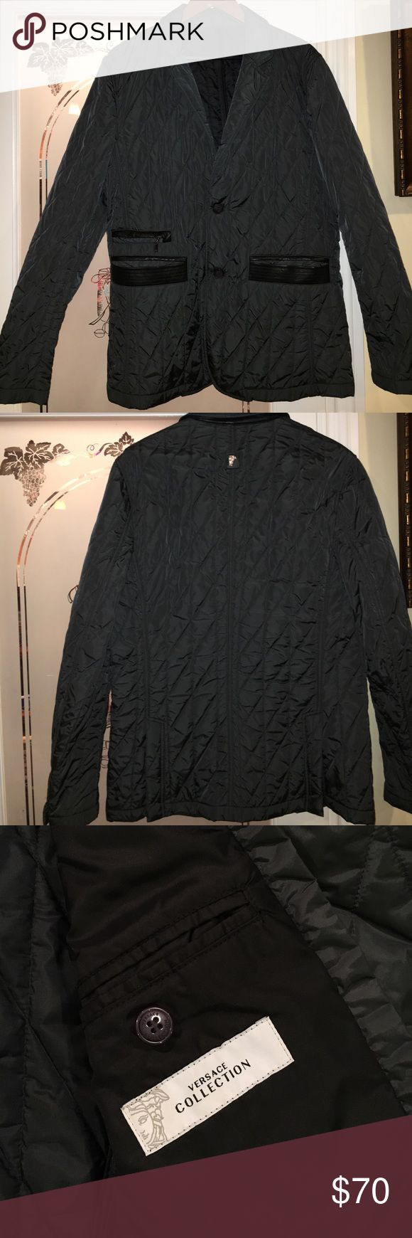 Versace blazer Versace collection  waterproof blazer/coat color grey with black leather trim on front pockets size Euro 52 used once practically brand new condition Versace Suits & Blazers Sport Coats & Blazers