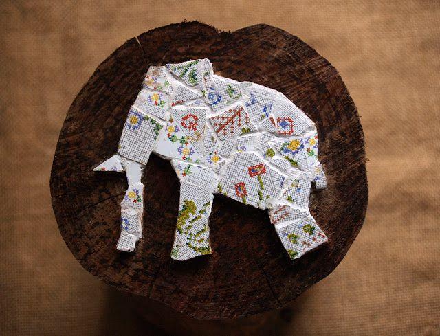 #vintage #elephant #mosaic #trencadís #DIY
